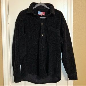 True Grit Black Sherpa Button Down Shirt Jacket-S